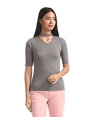 Elle Studio Grey Choker Neck Rib Knit Top
