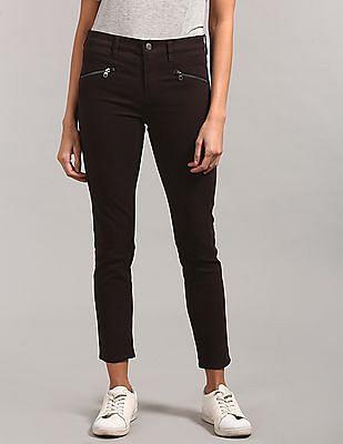 GAP Women Brown Mid Rise True Skinny Jeans With Zip Detail
