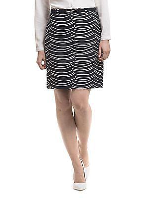 Nautica Scalloped Print Straight Skirt