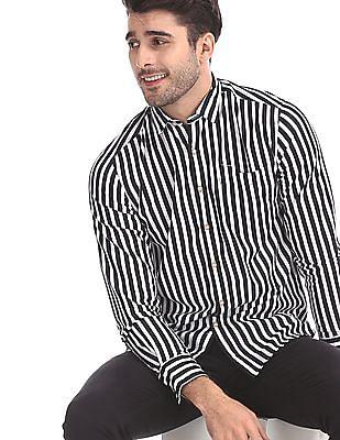 Flying Machine Black And White Vertical Stripe Cotton Shirt