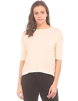 SUGR Patterned Knit Dolman Sleeve Top