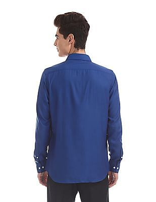 USPA Tailored Blue Tailored Regular Fit Patterned Shirt