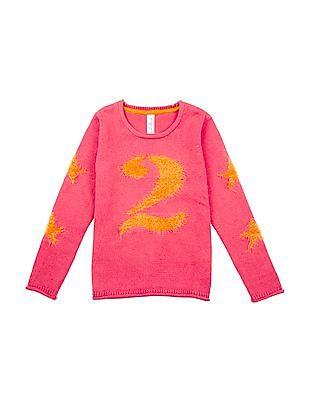 U.S. Polo Assn. Kids Girls Patterned Knit Round Neck Sweater