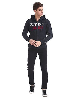 Flying Machine Contrast Applique Hooded Sweatshirt