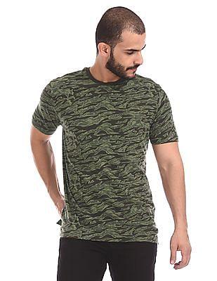 Cherokee Green Crew Neck Camo Print T-Shirt