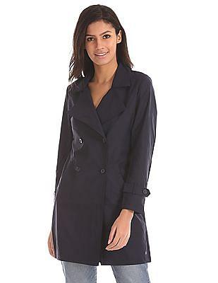 U.S. Polo Assn. Women Notch Lapel Solid Trench Coat