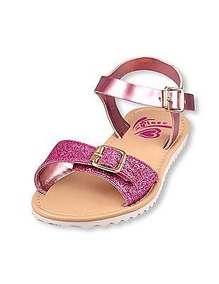 The Children's Place Girls Shimmer Glitter Rose Sandal