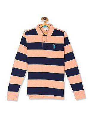 U.S. Polo Assn. Kids Orange And Navy Boys Long Sleeve Striped Polo Shirt