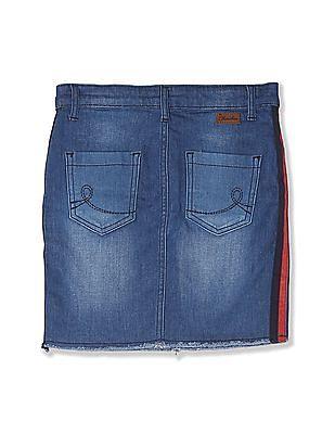 Cherokee Blue Girls Side Tape Washed Denim Skirt