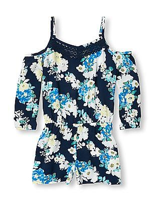 The Children's Place Girls Long Sleeve Floral Print Cold-Shoulder Woven Romper