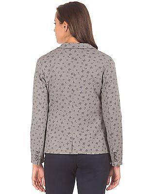 U.S. Polo Assn. Women Notched Lapel Printed Blazer