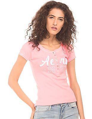 Aeropostale Appliqued Logo Ribbed Henley T-Shirt