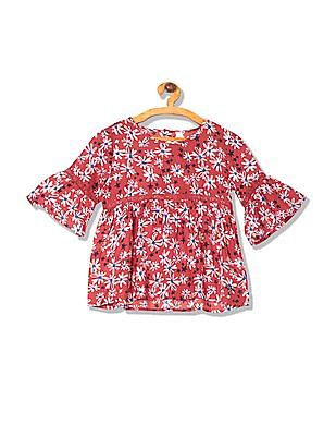 U.S. Polo Assn. Kids Girls Lace Trim Floral Print Top