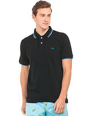Aeropostale Tipped Cotton Pique Polo Shirt