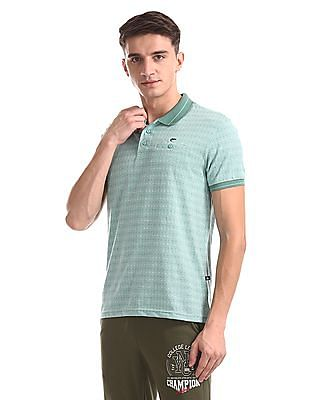 Ruggers Green Regular Fit Patterned Knit Polo Shirt