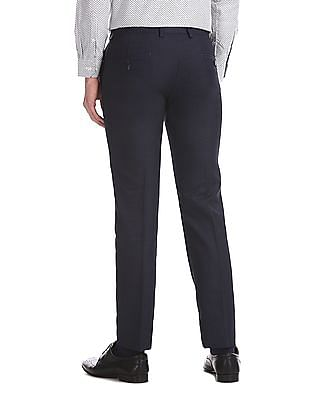 Excalibur Blue Contemporary Regular Fit Solid Trousers