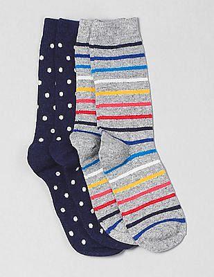 GAP Women Assorted Pattern Crew Socks (2-Pack)