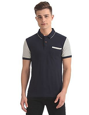 Arrow Blue Jeans Company Colour Block Pique Polo Shirt