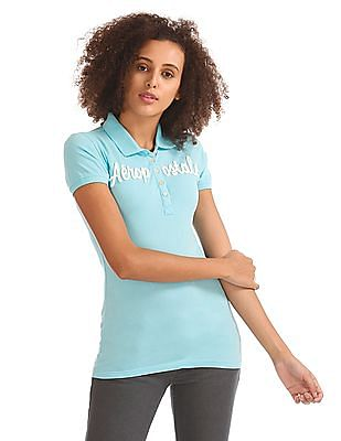 Aeropostale Brand Applique Jersey Polo Shirt