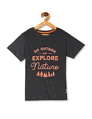FM Boys Grey Boys Crew Neck Graphic T-Shirt