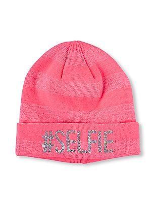 The Children's Place Girls Embroidered 'Selfie' Metallic Threaded Glitter Striped Hat