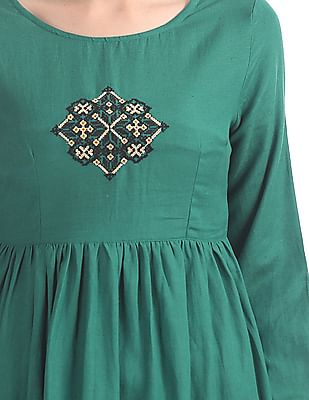 Bronz Embroidered Puff Sleeve Tunic