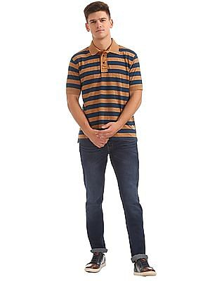 Cherokee Short Sleeve Striped Polo Shirt