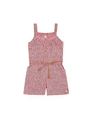 U.S. Polo Assn. Kids Girls Ruffled Trim Geometric Print Romper