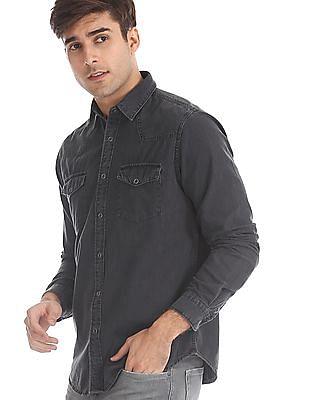 Aeropostale Grey Spread Collar Snap Button Shirt