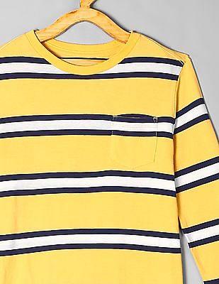 GAP Yellow Boys Patch Pocket Striped T-Shirt