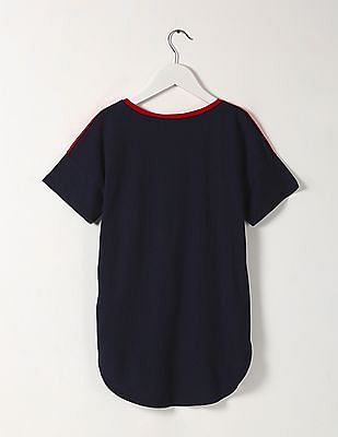 GAP Girls Blue Colour Block T-Shirt
