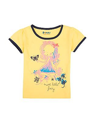 Donuts Girls Printed Front Contrast Trim T-Shirt