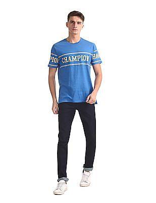 Colt Blue Printed Slub Cotton T-Shirt
