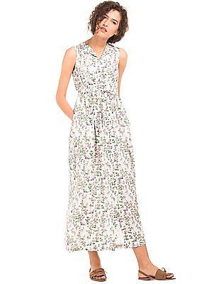 Cherokee Drawstring Waist Printed Maxi Dress