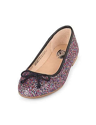The Children's Place Girls Glitter Bow Audrey Ballet Flat