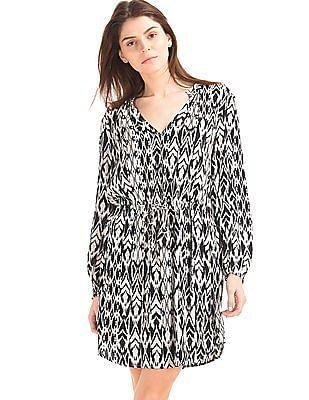 GAP Silky Print Split Neck Dress