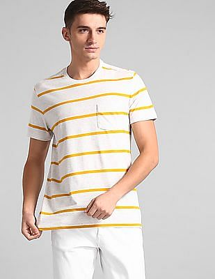 GAP White Patch Pocket Striped T-Shirt