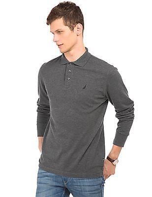 Nautica Long Sleeve Slim Fit Polo Shirt