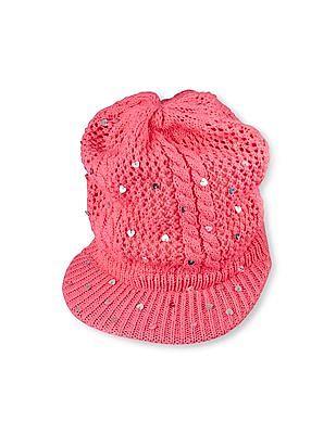 The Children's Place Girls Glitter Heart Cabbie Hat