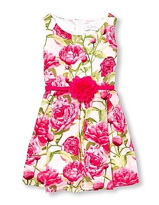 The Children's Place Girls Pink Mommy And Me Sleeveless Floral Print Belted Matching Woven Dress