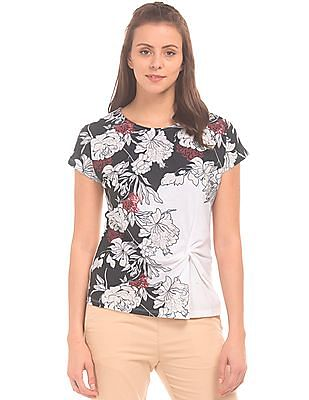 Cherokee Floral Printed Front Top