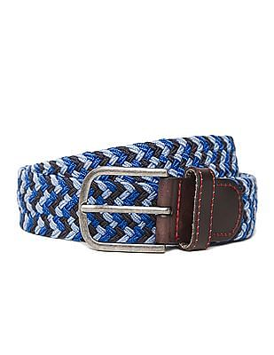 Flying Machine Leather Trim Braided Belt