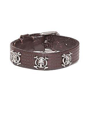 Ed Hardy Skull And Crossbones Leather Bracelet