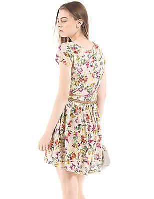 SUGR Floral Print Belted Dress