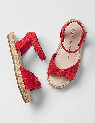 GAP Baby Red Strappy Bow Jute Sandals