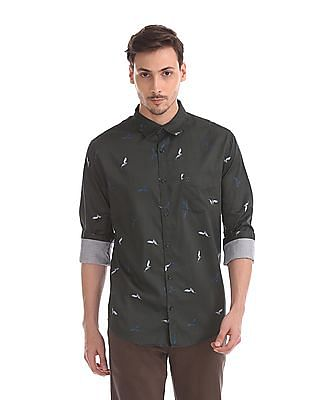 Roots by Ruggers Mitered Cuff Printed Shirt