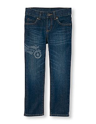 The Children's Place Boys Blue Motorcycle Graphic Distressed Skinny Jeans