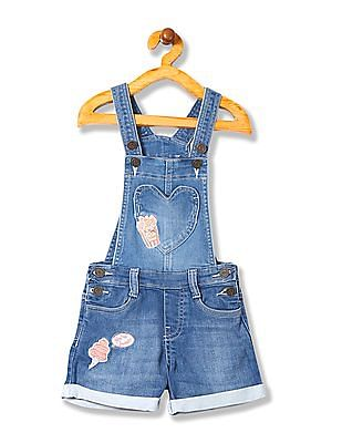 Cherokee Girls Appliqued Denim Dungaree