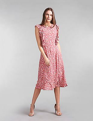 GAP Floral Print Ruffle Trim Dress