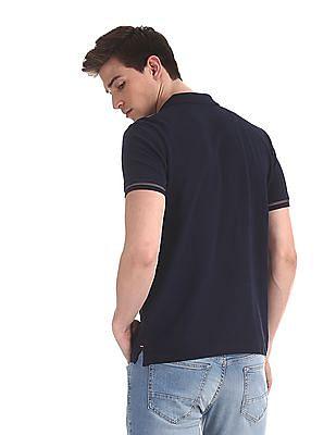 Arrow Sports Blue Solid Pique Polo Shirt